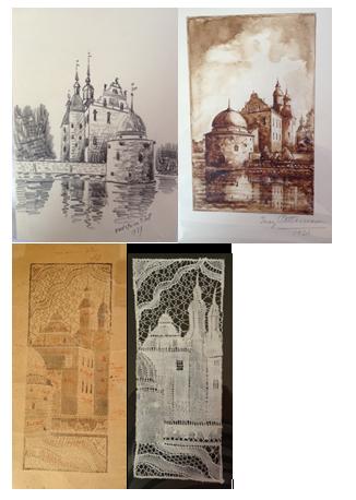 slottet tavla mönster och knypplad