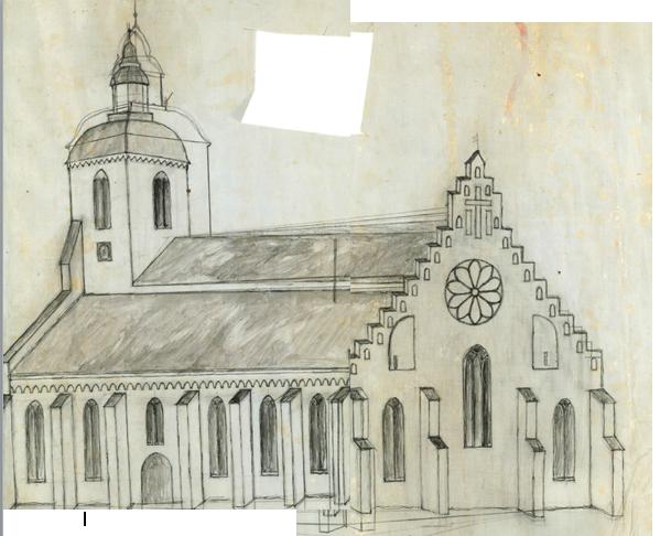 teckning skänninge kyrka