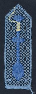 Bokmärke - Knyppelpinne - Ljusblå -Blå med Svart bakgrund